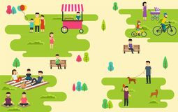 El parque público del verano con la gente activa, vacaciones de familia, paseo con el perro, paseo monta en bicicleta Fotografía de archivo libre de regalías