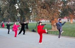 El parque para ejercitar a ancianos chinos Foto de archivo libre de regalías