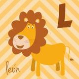 El parque zoológico lindo de la historieta ilustró alfabeto con los animales divertidos Alfabeto español: L para León libre illustration