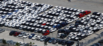 El parquear de los coches de alquiler Fotografía de archivo libre de regalías