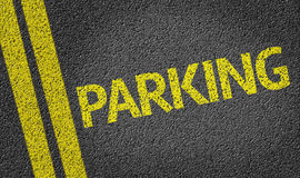 El parquear escrito en el camino imagen de archivo