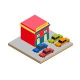 El parquear isométrico de los coches del supermercado Stock de ilustración