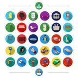 El parquear, las cualidades, las herramientas y el otro icono del web en estilo de la historieta Transporte, reglas, tráfico, ico Imágenes de archivo libres de regalías