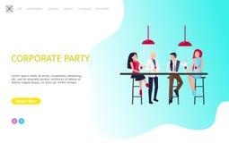 El partido corporativo, compañeros de trabajo se sienta, presenta y consumición stock de ilustración