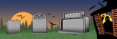El partido de casa encantada invita a la invitación frecuentada del partido de CASA de Halloween ilustración del vector