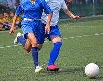 El partido de fútbol de las mujeres Foto de archivo