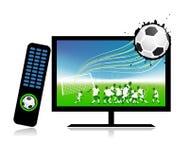 El partido de fútbol en la TV se divierte el canal Fotografía de archivo libre de regalías