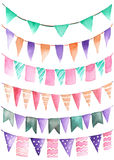 El partido de la acuarela fijó bajo la forma de guirnalda de las banderas Imagen de archivo