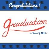 El partido de la plantilla del vector de la graduación, Congrats, celebra, High School secundaria Sistema de la universidad Celeb Foto de archivo libre de regalías