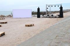 El partido de la playa se está preparando Fotos de archivo