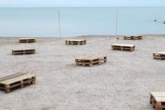 El partido de la playa se está preparando Foto de archivo libre de regalías