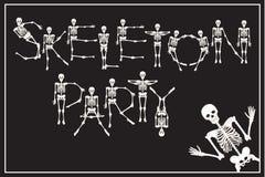 El partido del esqueleto de letras con la fuente de los esqueletos del baile, sistema de dejó Fotografía de archivo