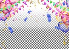 El partido del vector hincha el ejemplo Ri de la bandera del confeti y de las cintas ilustración del vector