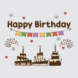 El partido fija la plantilla para el cumpleaños ilustración del vector