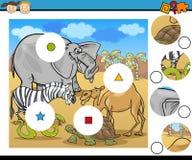 El partido junta las piezas de la historieta del juego Foto de archivo libre de regalías