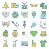 El partido y la celebración alinean y llenan iconos aislados del vector stock de ilustración