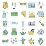 El partido y la celebración alinean y llenan iconos aislados del vector libre illustration