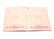 El pasaporte abierto Fotografía de archivo libre de regalías