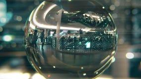 El paseo de los clientes en la Navidad adornó la alameda de compras Visión a través de la bola de cristal metrajes