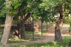 El paseo en el parque al lado de las paredes históricas del templo viejo Fotos de archivo