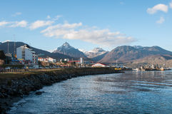 El paseo marítimo de Ushuaia en Tierra del Fuego, la Argentina Imagen de archivo