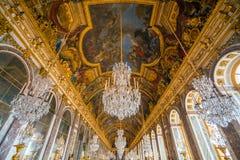 El pasillo de espejos en el palacio de Versalles fotografía de archivo libre de regalías