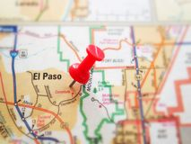 El Paso. Closeup of a map of El Paso, Texas royalty free stock photo
