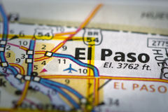 El Paso on Map. Closeup of El Paso, Texas on a road map of the United States royalty free stock photography