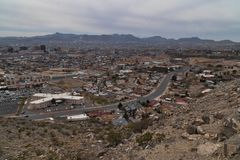 El Paso scenic drive view of El Paso and Juarez. The El Paso Texas scenic drive gives good views of El Paso and the town of Juarez in Mexico stock photography