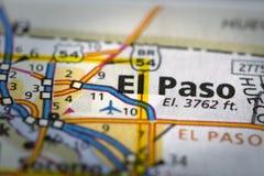 El Paso sulla mappa Fotografia Stock Libera da Diritti