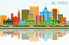 El Paso Texas City Skyline met Kleurengebouwen, Blauw Hemel en Re royalty-vrije illustratie