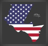 El Paso Texas map with American national flag illustration. El Paso Texas map with American national flag Royalty Free Stock Photography