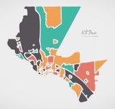 El Paso Texas Map com vizinhanças e formas redondas modernas Imagem de Stock Royalty Free