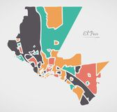 El Paso Texas Map med grannskapar och moderna runda former Royaltyfri Bild