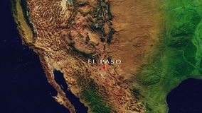 El Paso - United States Zoom In From Space. Zoom to geographic earth from space 4K Resolution animation stock video