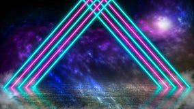 El pastel coloreó las luces laser de neón en el planeta extranjero con hielo y niebla ilustración del vector