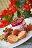 El pastel de queso de la frambuesa en rojo florece el fondo Imágenes de archivo libres de regalías