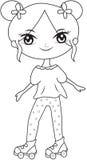 El patín de ruedas de la muchacha que lleva calza la página del colorante Imágenes de archivo libres de regalías
