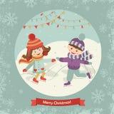 El patinaje alegre de los niños Imágenes de archivo libres de regalías