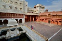 El patio principal Fuerte de Junagarh Bikaner Rajasthán La India Imagen de archivo libre de regalías