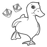El pato con el colorante de la impresión de la pata pagina vector Fotos de archivo