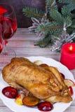 El pato festivo de la Navidad coció con las manzanas y los ciruelos: vidrios de vino Fotos de archivo libres de regalías