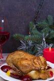El pato festivo de la Navidad coció con las manzanas y los ciruelos: vidrios de vino Foto de archivo libre de regalías