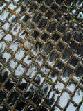 El pavimento negro mojado del puente, forma rectangular, 45 grados pesca con caña foto de archivo