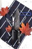 El pavo de la carne asada que tallaba los utensilios fijó con el delantal azul marino de la raya - vertical Foto de archivo libre de regalías