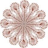 El pavo real del garabato del vector de los colores de la alheña empluma el círculo Fotos de archivo libres de regalías