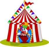 El payaso de la historieta sale de la tienda de circo stock de ilustración