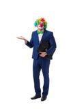 El payaso divertido del hombre de negocios aislado en el fondo blanco Imagenes de archivo