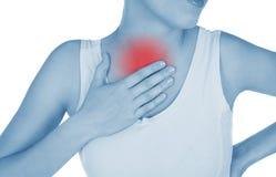 El pecho dolorido, bronquitis, mostrada rojo, mantiene dado Fotografía de archivo libre de regalías