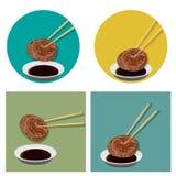 El pedazo de carne se está sosteniendo con los palillos y la salsa ilustración del vector